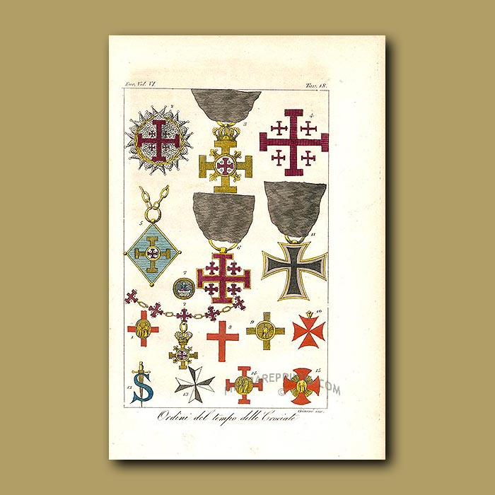 Antique print. Orders at the time of the Crusades a.d.1031 to a.d.1060