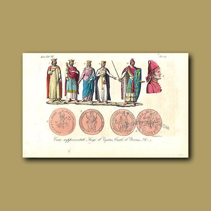 Antique print. Mediaeval noble men and women a.d.1031 to a.d.1060