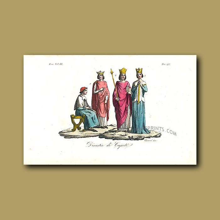 Antique print. Dress of the Capetian Dynasty a.d. 987 to a.d.1328