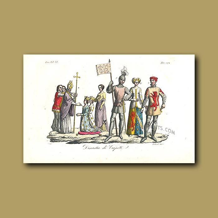 Antique print. Men and Women of the Capetian Dynasty a.d. 987 to a.d.1328