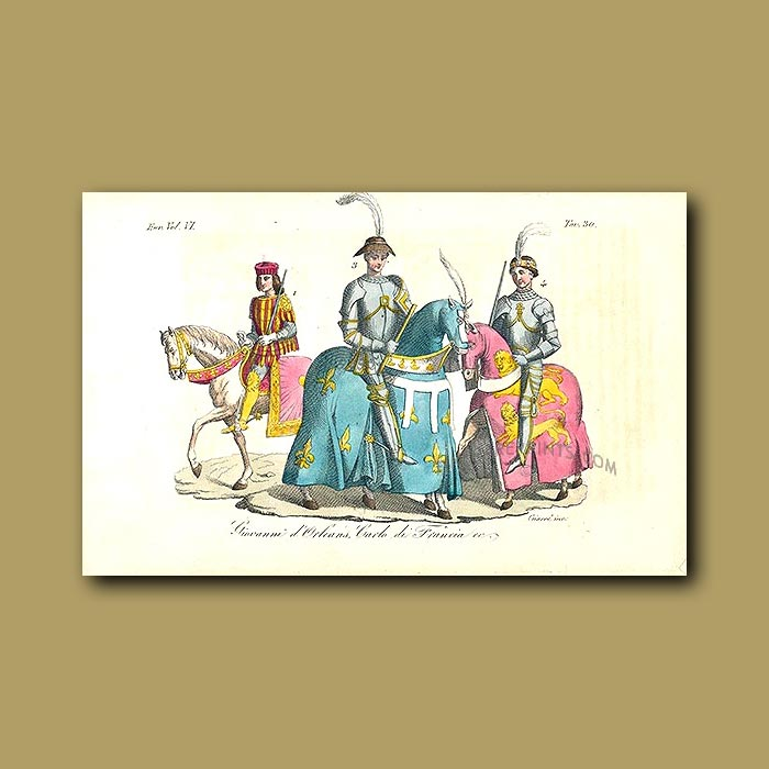 Antique print. Giovanni of Orleans and Charles of France a.d. 1400