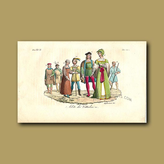 Antique print. Dress of the people a.d 1450