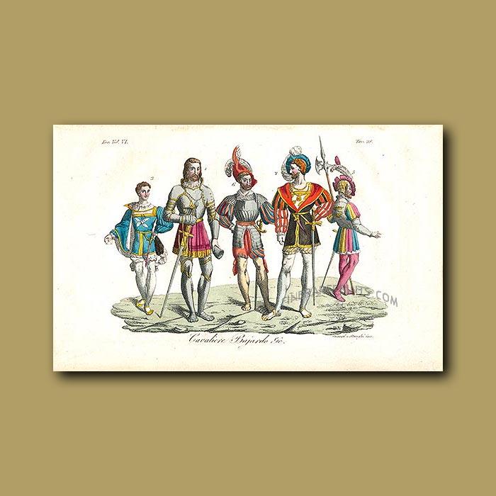 Antique print. Cavaliers a.d 1550
