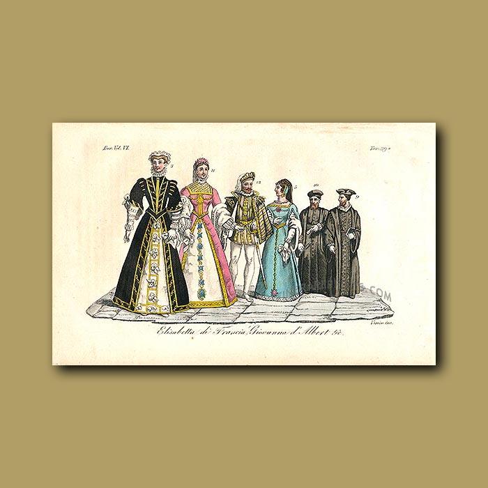 Antique print. Elizabeth of Valois a.d 1559 to a.d 1568
