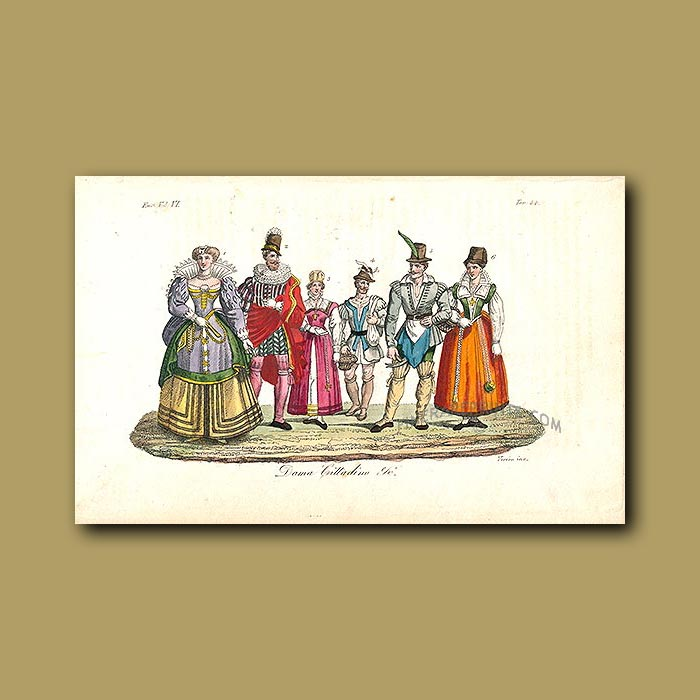 Antique print. Dress of the people a.d.1600