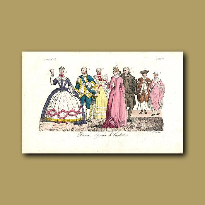 Antique print. Ladies and gentleman of the Court a.d 1700
