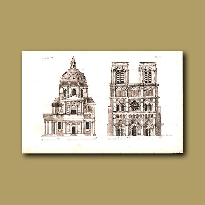 Antique print. Notre Dame Cathedral a.d 1820
