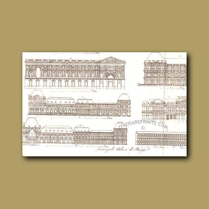Antique print. Main Palaces in Paris a.d 1820