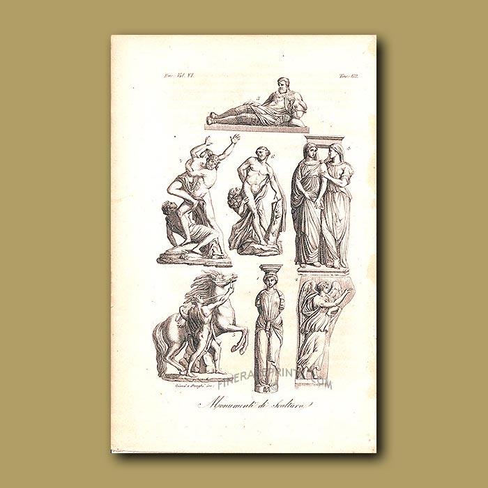 Antique print. Sculptures a.d 1820