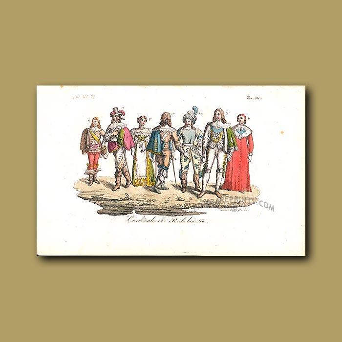 Antique print. Cardinals of Richelieu a.d 1820