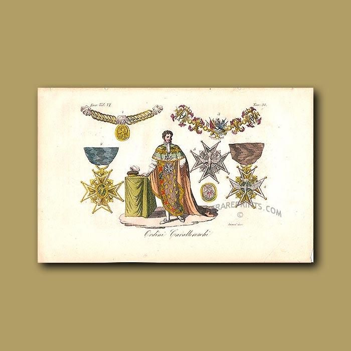 Antique print. Cavellerreschi orders a.d 1820