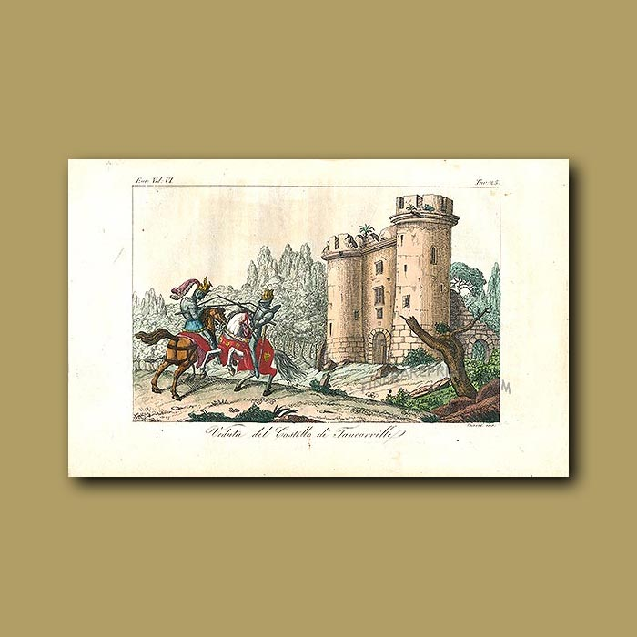 Antique print. View of the Castle of Tancarville and knights jousting