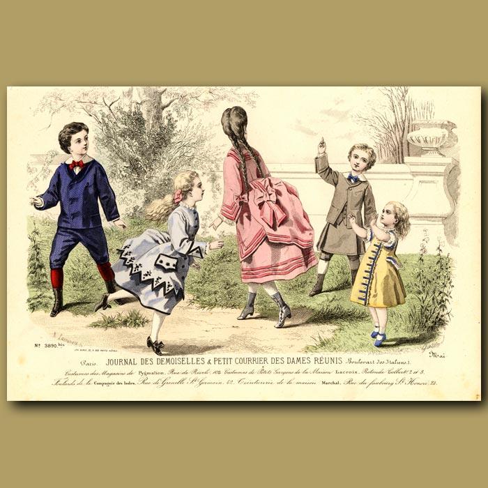 Antique print. French Fashion: Childrens Fashion