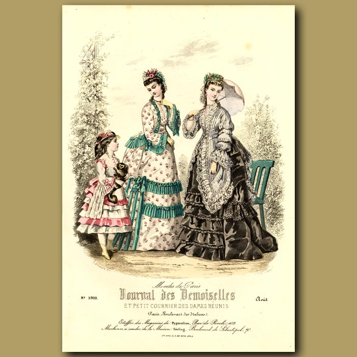 Antique print. French Fashion: Fashions From The Stores Of Pygmalion