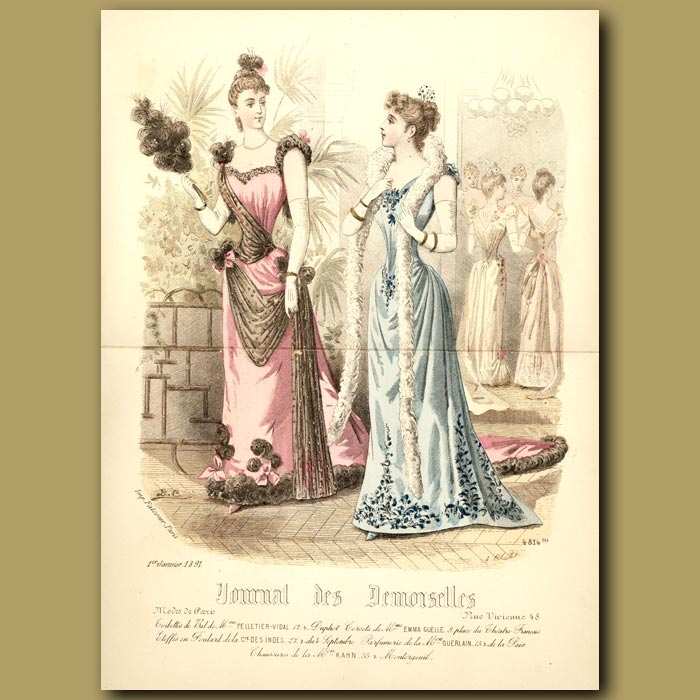Antique print. French Fashion: Elegant Ladies