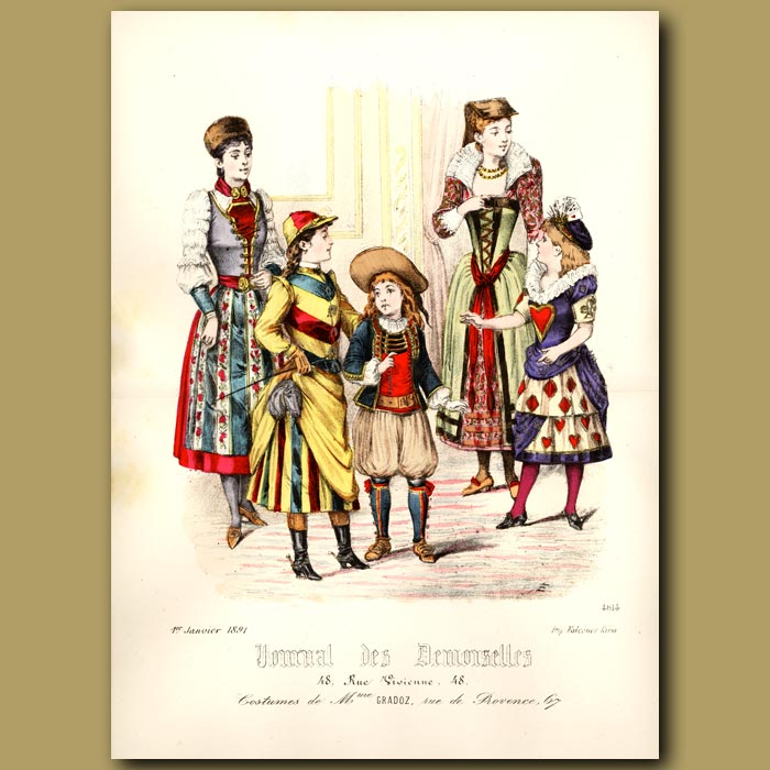 Antique print. French Fashion: Costumes Of French Children