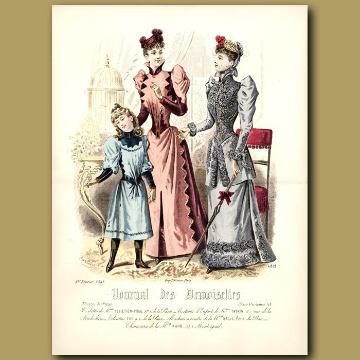 Antique print. French Fashion: Elegant Ladies And Girl
