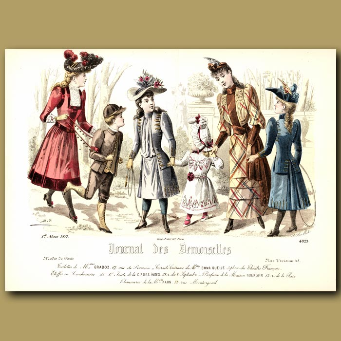 Antique print. French Fashion: Ladies And Children In A Park