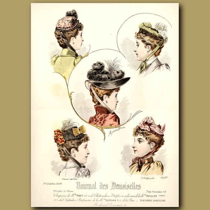 Antique print. French Fashion: Ladies Hats