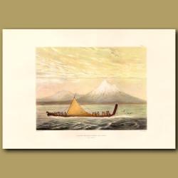 Taranaki Or Mount Egmont And A War Canoe
