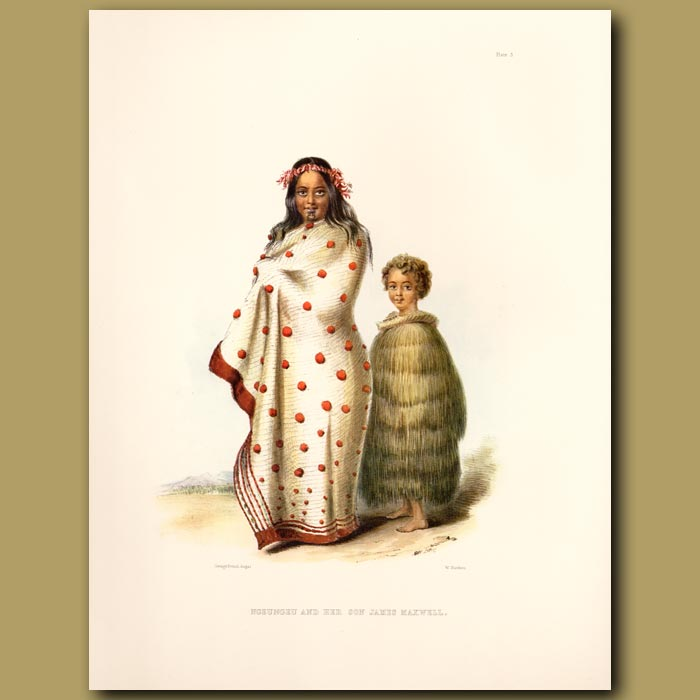 Antique print. Ngeungeu And Her Son James Maxwell
