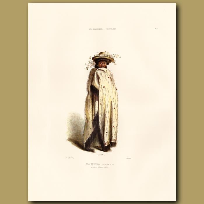 Antique print. Nga Toenga Wearing A Garland Of Clematis