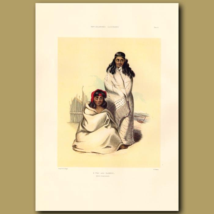Antique print. E Wai And Kahoki: Nieces Of Rauparaha