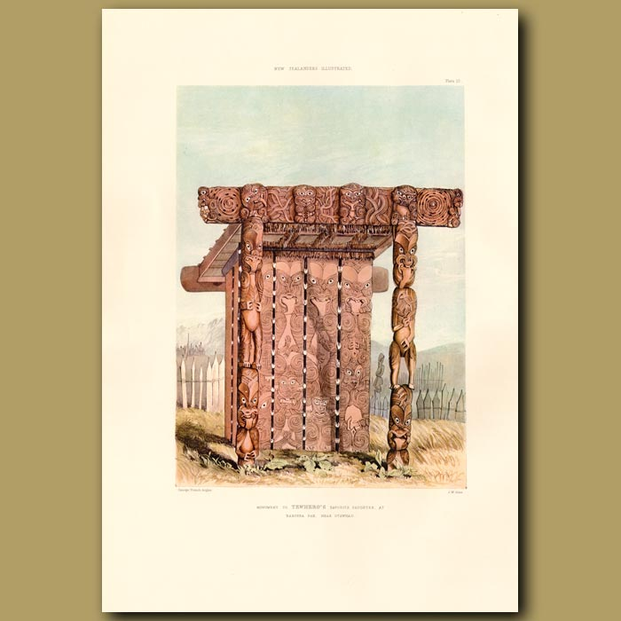 Antique print. Monument to Te Whero Whero's daughter at Raroera Pah