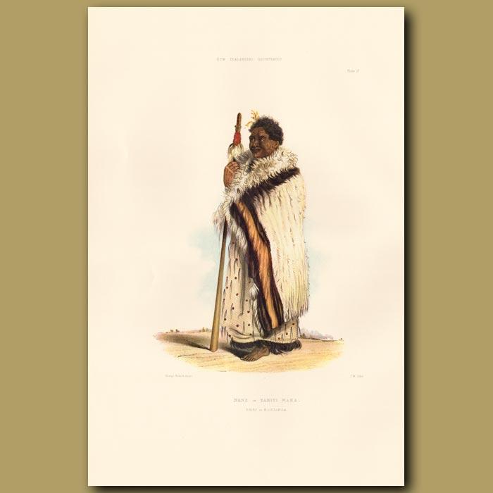 Antique print. Chief Nene Or Tamiti Waka Of Hokianga