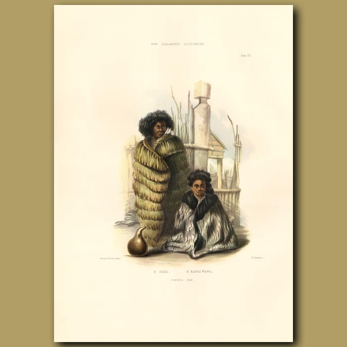 Antique print. E Pori And Her Daughter E Rangi Wawa