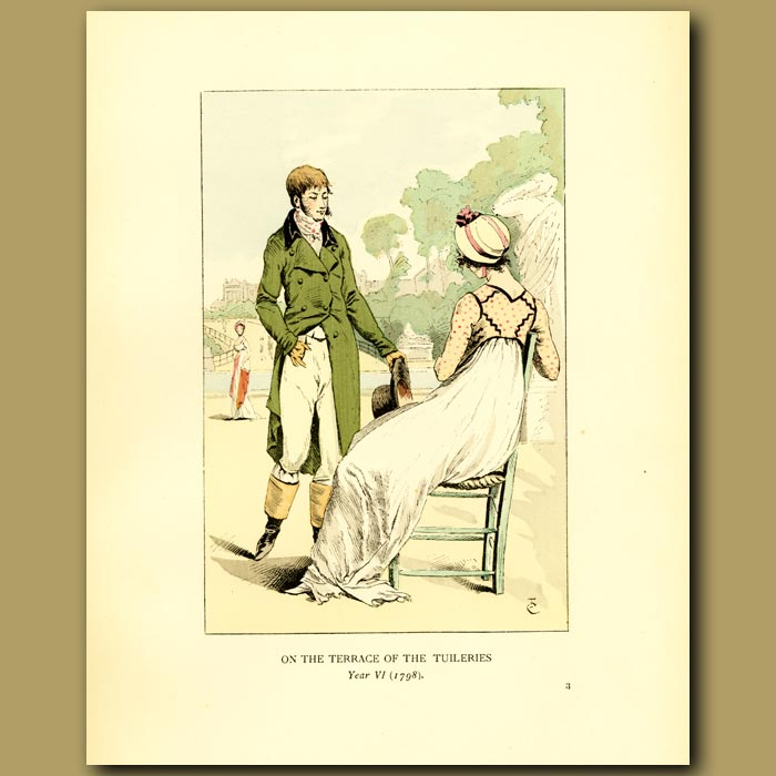Antique print. On The Terrace Of The Tuileries