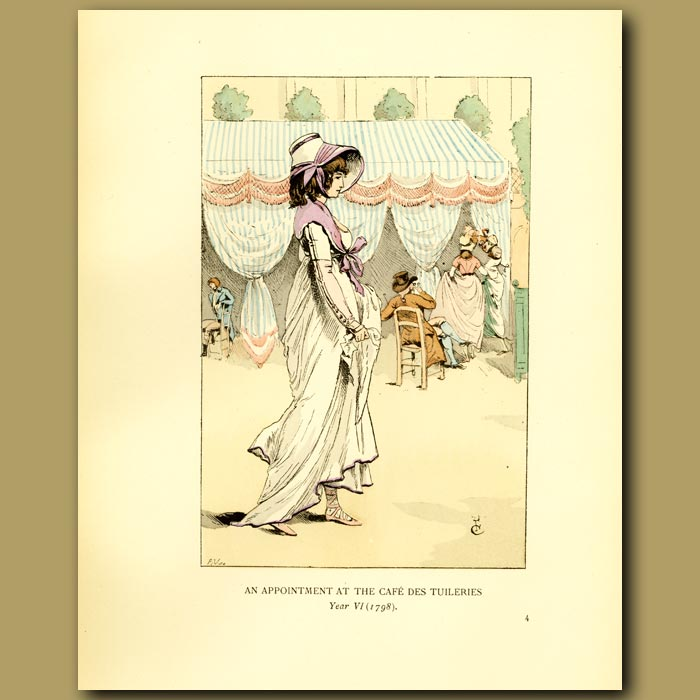 Antique print. An Appointment At The Cafe Des Tuileries