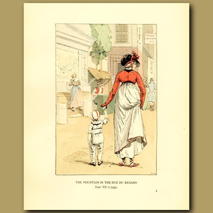 Antique print. The Fountain In The Rue Du Regard