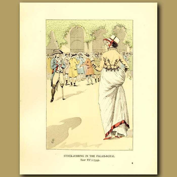Antique print. Stock-Jobbing In The Palais Royal