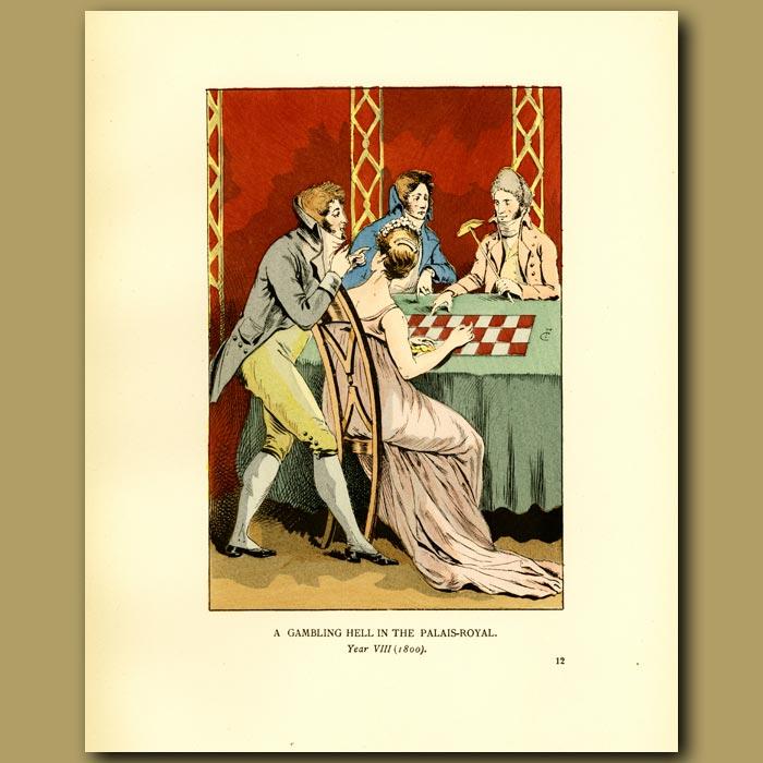 Antique print. A Gambling Hell In The Palais Royal