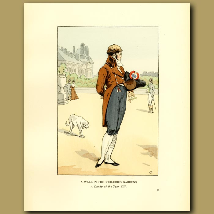 Antique print. A Walk In The Tuileries Gardens