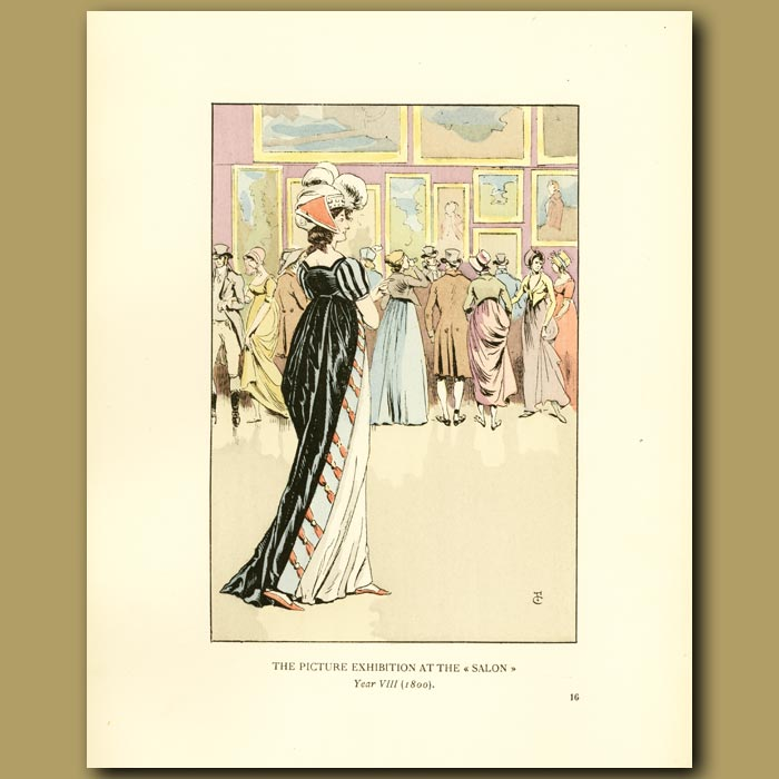 Antique print. The Picture Exhibition At The Salon