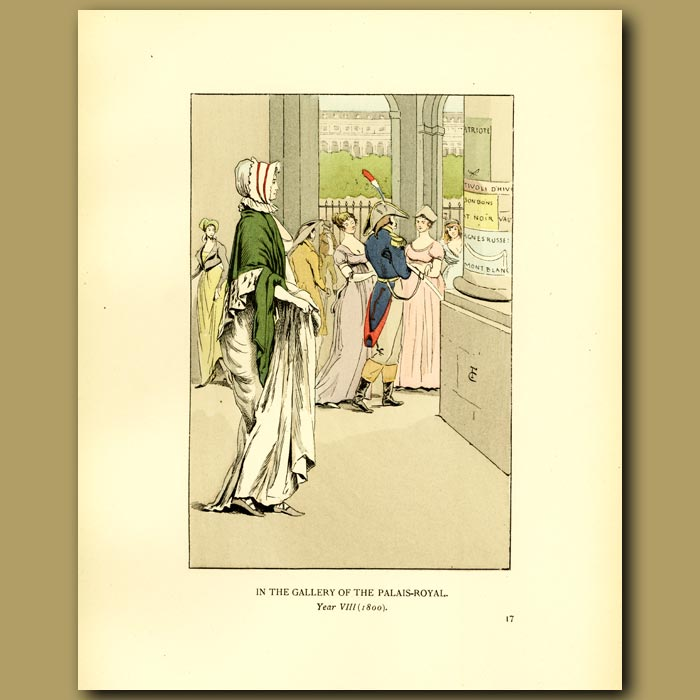 Antique print. In The Gallery Of The Palais Royal