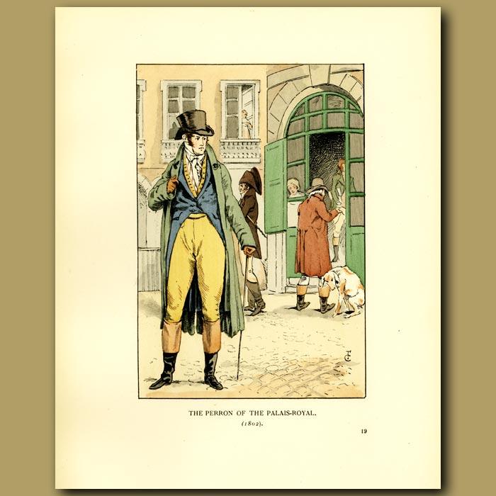 Antique print. The Perron Of The Palais Royal