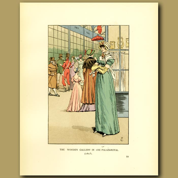 Antique print. The Wooden Gallery In The Palais Royal