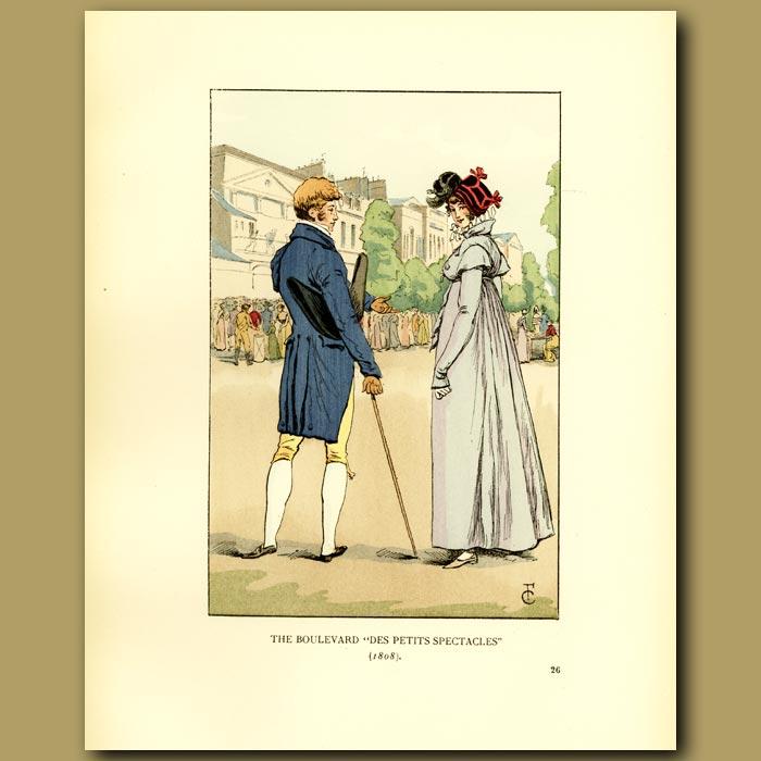Antique print. The Boulevard 'des Petits Spectacles'