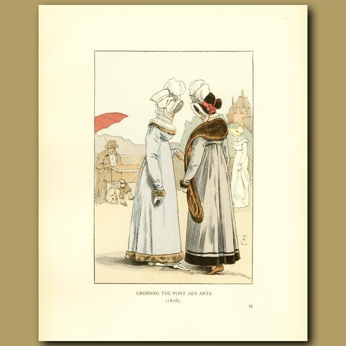Antique print. Crossing The Pont Des Arts