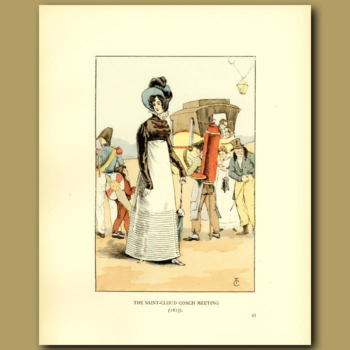 Antique print. The Saint Cloud Coach Meeting