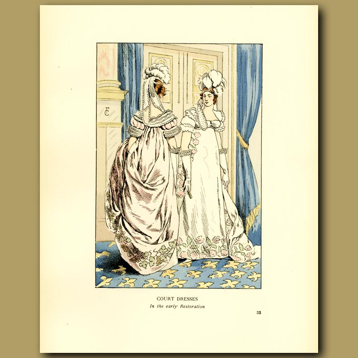 Antique print. Court Dresses At The Early Restoration