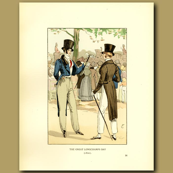 Antique print. The Great Longchamps Day