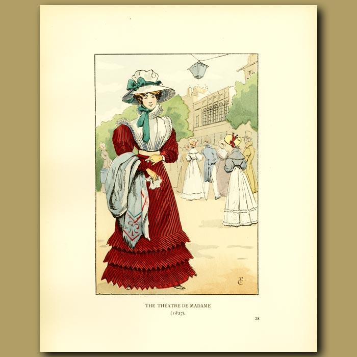 Antique print. The Theatre De Madame