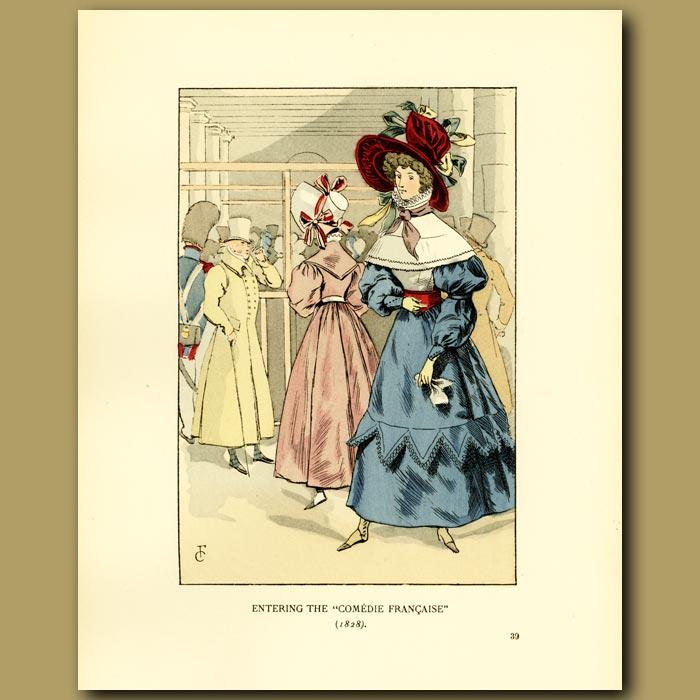 Antique print. Entering The Comedie Francaise