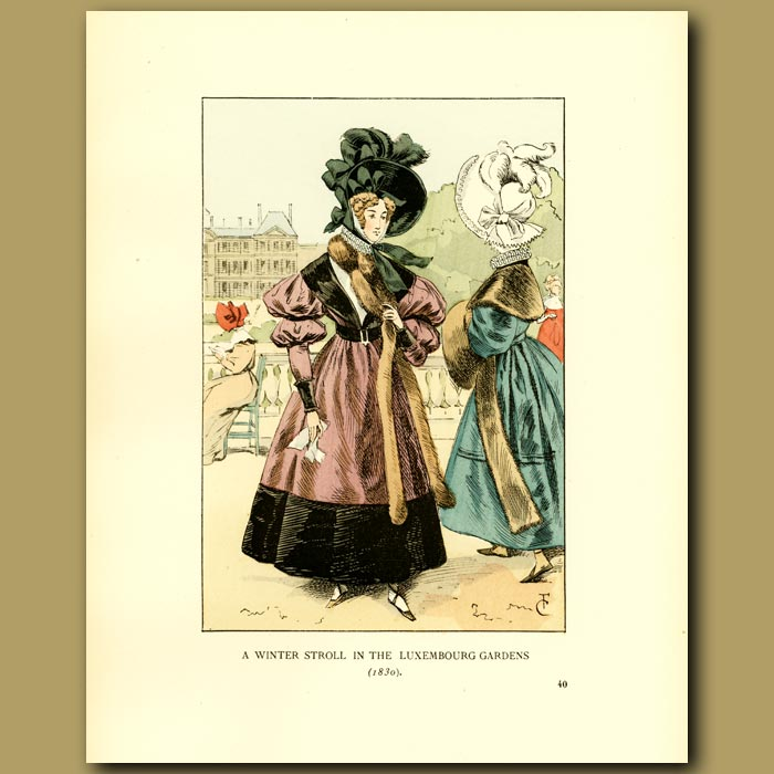 Antique print. A Winter Stroll In The Luxembourg Gardens