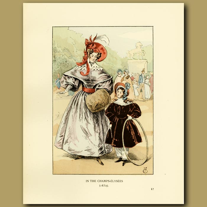 Antique print. In The Champs Elysees