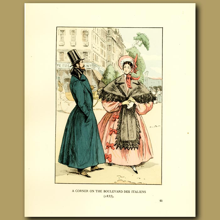 Antique print. A Corner On The Boulevard Des Italiens